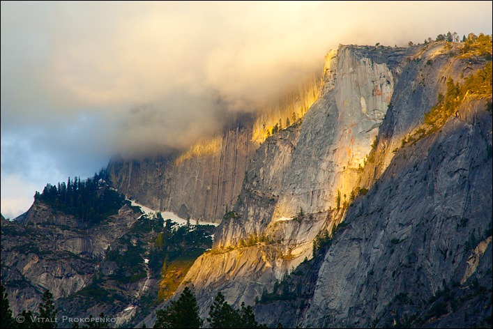 Half Dome painted with golden Sun rays